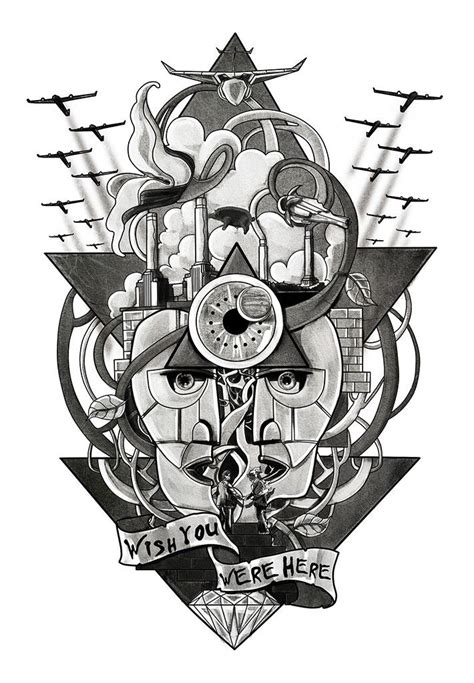 Black and white Pink Floyd inspired bicep tattoo designed